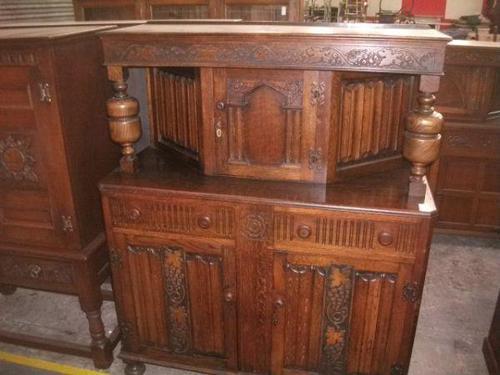 Grape Carved Oak Court Cupboard (1 of 3)