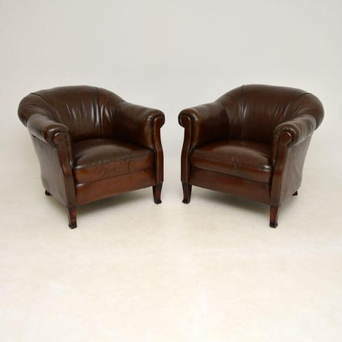 Pair of Antique  Swedish  Leather Club Armchairs (1 of 12)
