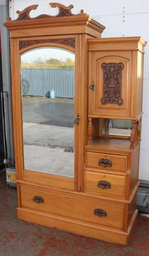 1910s Over Carved Satin Walnut Mirrored Combination Wardrobe (1 of 4)