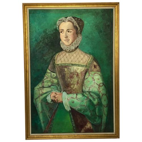 Large Oil Painting English Portrait Of Aristocratic Tudor Lady Wearing Fine Elizabethan Dress (1 of 24)