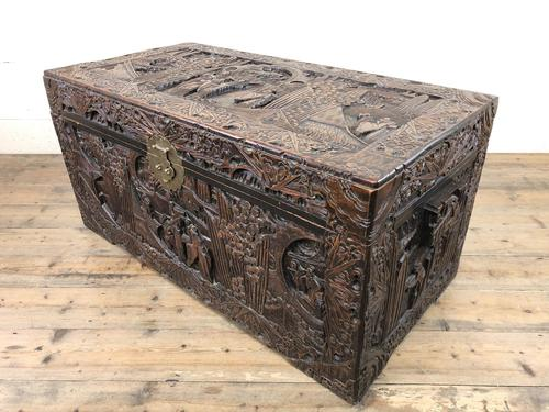 Carved Oriental Camphorwood Chest or Trunk (1 of 13)