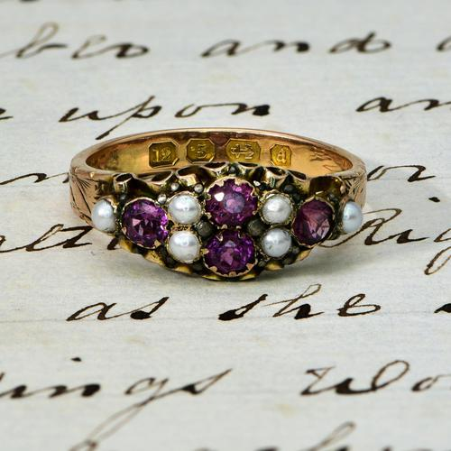 The Antique Victorian 1897 Pink Tourmaline & Seed Pearl Ring (1 of 4)