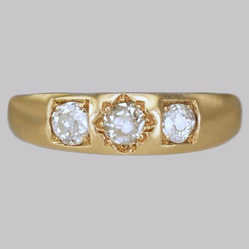 Victorian 18ct Gold 0.60ct Old Cut Diamond Gypsy Trilogy Ring Antique Hallmarked  1896 (1 of 7)