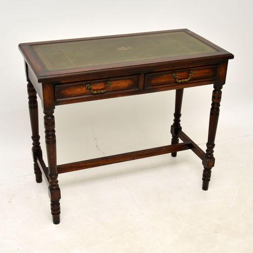 Antique Leather Top Oak Writing Table / Desk (1 of 10)
