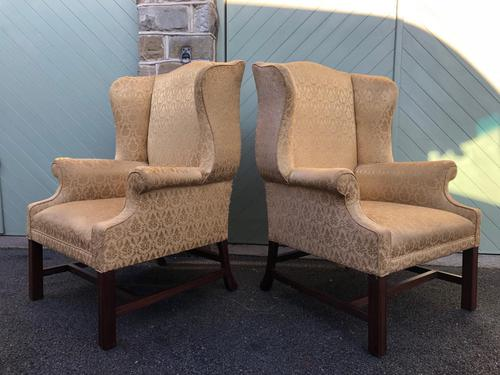 Pair of Antique English Upholstered Wing Armchairs for Recovering (1 of 12)