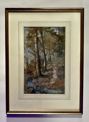 Sine Mackinnon - Woodland Path with Figure - Gouache (1 of 2)