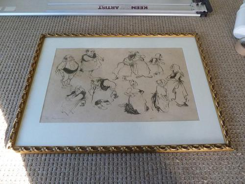 """William Papas """" Inn Keeper  """" Ink Drawing 1970's - 2 of 6 Listed (1 of 7)"""
