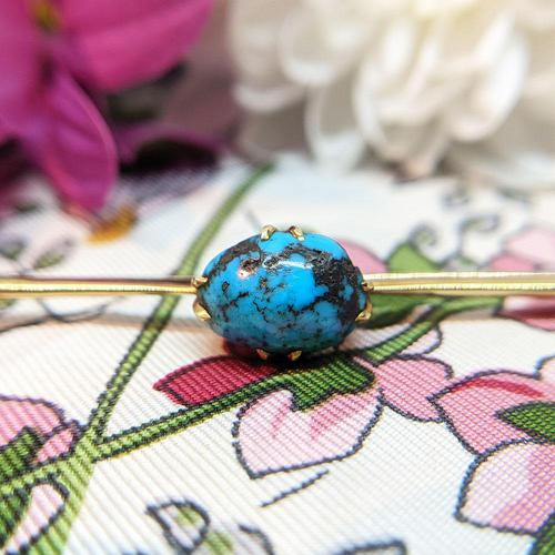Antique 9ct Gold Turquoise Cabochon Brooch (1 of 9)