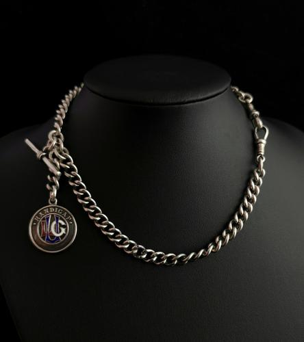 Antique Silver Double Albert Chain, Enamelled Silver Fob, Watch Chain (1 of 13)