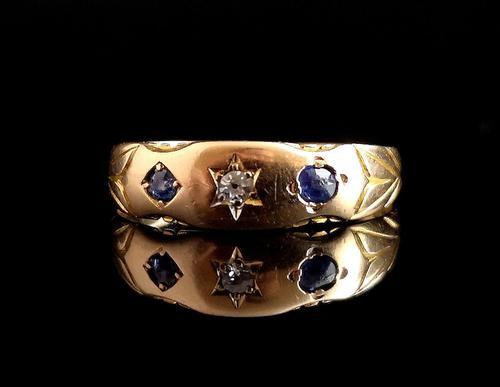 Antique Victorian Sapphire & Diamond Ring, 15ct Gold (1 of 12)