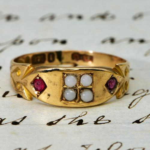 The Victorian 1892 Four Pearl & Ruby Ring (1 of 4)