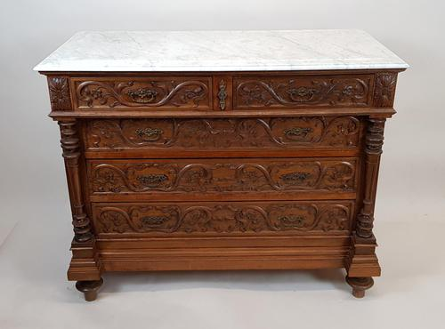 French Oak Marble Top Commode (1 of 5)