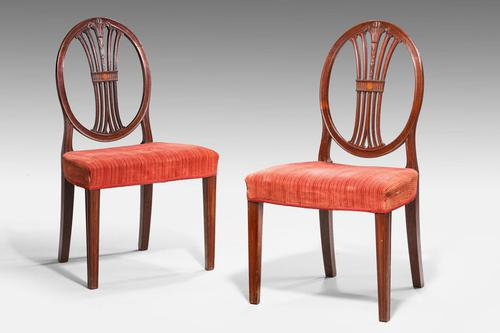 Pair of George III Hepplewhite Oval Backed Chairs (1 of 4)