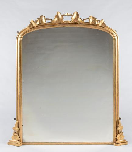 Large English Victorian Carved Giltwood Overmantle Mirror (1 of 7)