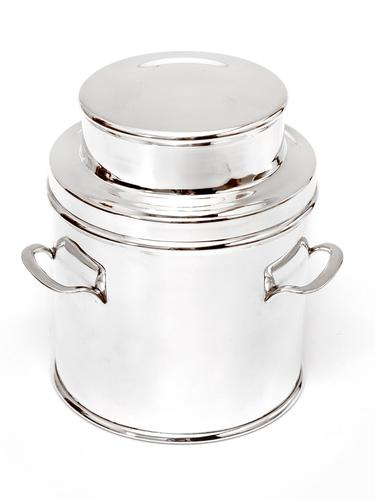 Large Silver Plated Churn Shaped Biscuit or Trinket Box (1 of 4)