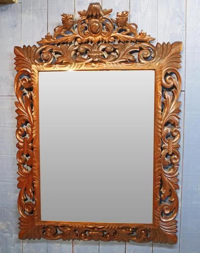 Large 19th Century Black Forest Carved Mirror (1 of 12)