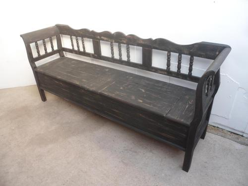 Shabby Chic Black 4 Seater Antique Pine Kitchen / Hall Box Settle / Bench (1 of 10)