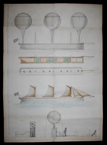 Unique Concept Drawing for a Flying Boat C1870s (1 of 11)