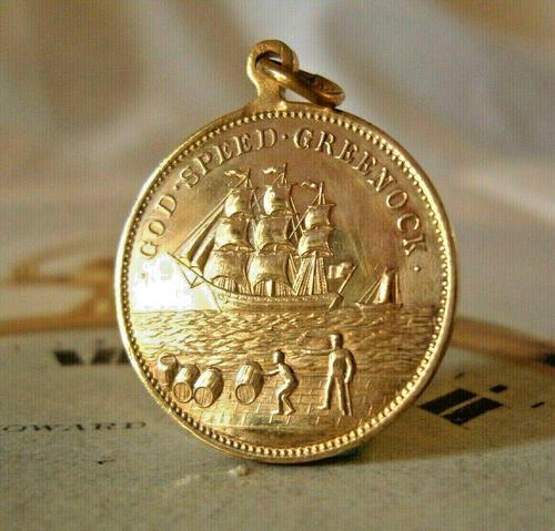 Antique Pocket Watch Chain Fob 1902 King Edward V11 & Greenock Ship Rose Gilt Fob (1 of 3)