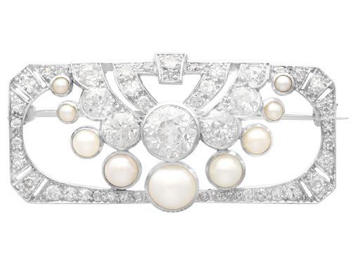 3.51ct Diamond & Pearl, Platinum Brooch - Art Deco c.1930 (1 of 9)