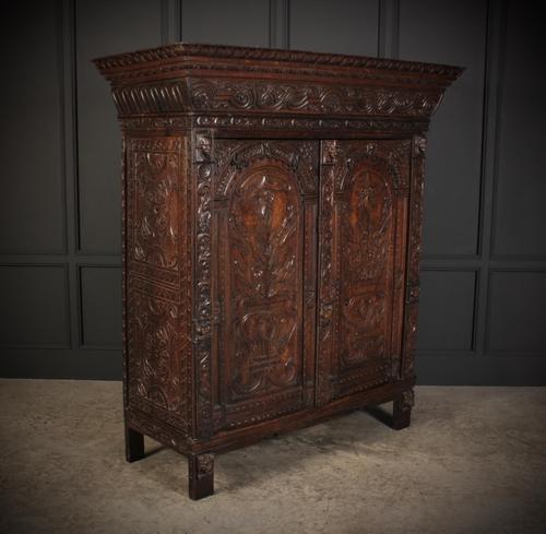 Profusely Carved Oak Cupboard (1 of 15)