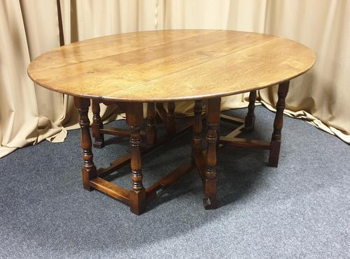 Superb 10/12 Seat Oak Drop Leaf Wake Table (1 of 15)