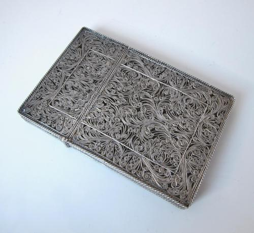 Fine Continental silver filigree card case c 1890 (1 of 12)