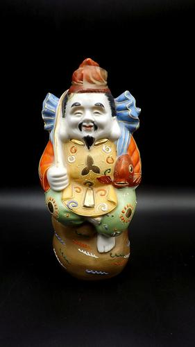 1960's Japanese Porcelain Saki Decanter - Still Sealed - Ebisu God of Fishermen (1 of 7)