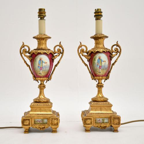 Pair of Antique French Porcelain & Gilt Metal Table Lamps (1 of 12)