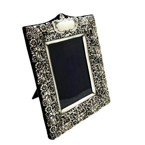 "Antique Edwardian Sterling Silver 9 1/2"" Photo Frame 1902 (1 of 11)"