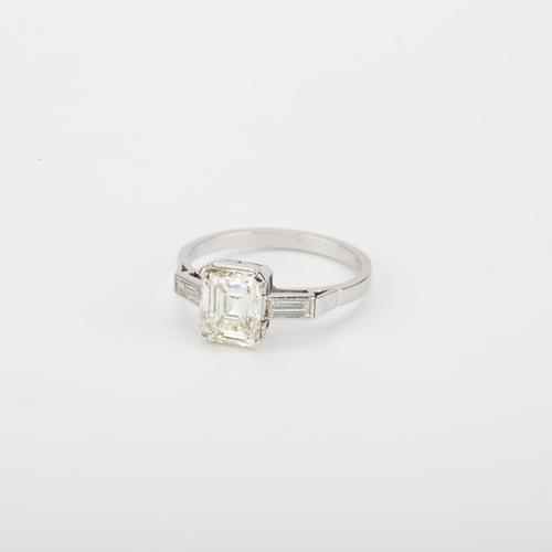 Art Deco 1.85 Carat Emerald Cut Diamond Solitaire Engagement Ring c.1920 (1 of 5)