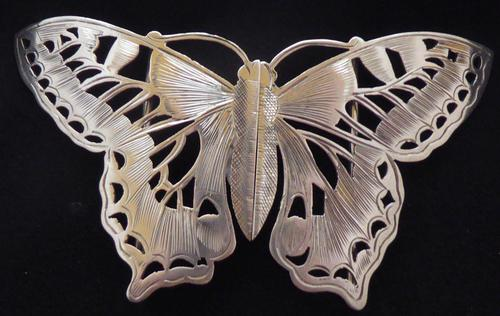 Rare Art Nouveau 1900 Hallmarked Silver Nurses Belt Buckle Butterfly Design (1 of 10)