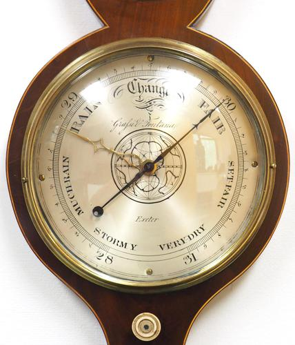 Good Mahogany 5 Glass Arched Top Barometer Thermometer by Giafsit Fontana Exeter (1 of 5)