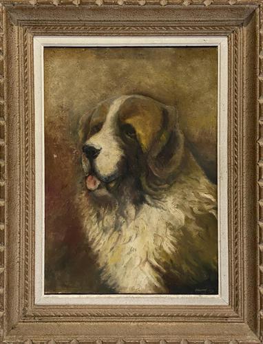 Oil of St Bernard Dog (1 of 3)