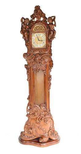 Carved Italian Grandfather Clock Walnut Cherubs (1 of 16)