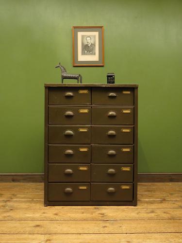 Antique Industrial Green Bank of Metal Army Drawers, Storage Workshop Drawers (1 of 14)