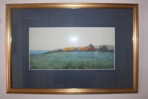 Antique Original Watercolour - Thatched Barns & Fields - Mary Sophia Godlee '1860-1932' (1 of 5)