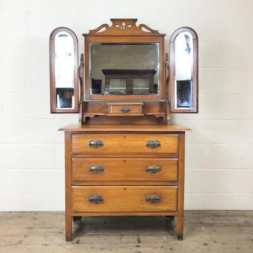 Antique Satin Walnut Dressing Table with Mirrors (1 of 10)