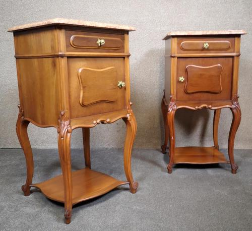 Pair of French Antique Walnut Bedside Cupboards / Night Stands c.1910 (1 of 9)