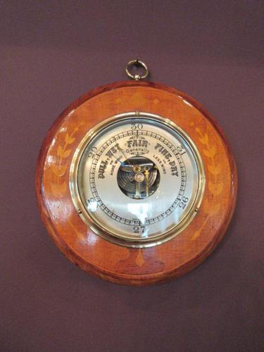 Edwardian Antique Fruitwood Inlaid Barometer (1 of 7)