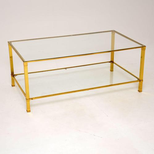 Vintage French Brass & Glass Coffee Table (1 of 7)