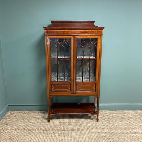 Superb Quality Victorian Inlaid Mahogany Antique Display Cabinet (1 of 7)