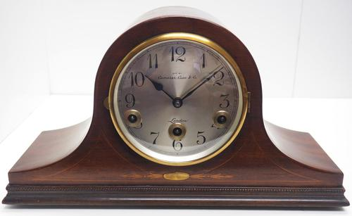 Mahogany Hat Shaped English Westminster 8-day Mantel Clock with Silver Dial (1 of 12)