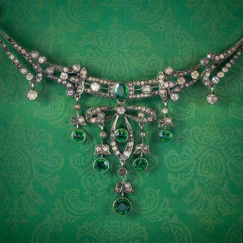 Antique Victorian Art Nouveau Green Paste Garland Necklace Silver c.1900 (1 of 8)
