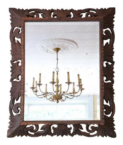 Florentine Carved Padauk Wall Mirror Overmantle c.1900 (1 of 6)