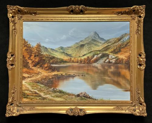 Original 20th Century Snowdonia Lake North Wales Welsh Mountain Landscape Oil Painting (1 of 12)
