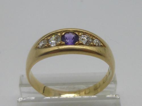 18ct Gold Amethyst & Diamond Ring (1 of 6)