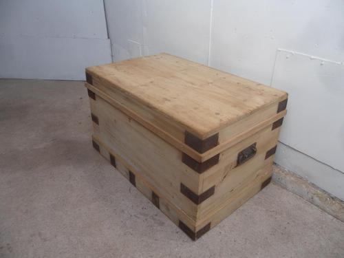 Lovely Metal Bound Victorian Antique Old Pine Coffer Box to Wax / Paint (1 of 9)