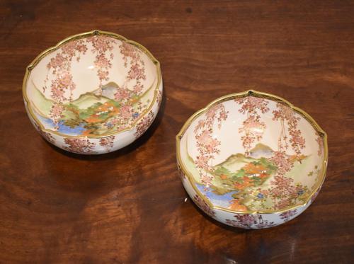 Pair of Satsuma Lobed Bowls by Koshida, (1 of 5)