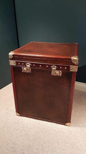 Superb Antique Leather & Brass Bound Trunk c.1920 (1 of 7)